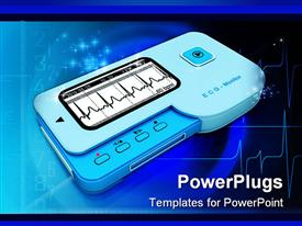PowerPoint template displaying heart rhythm or ECG monitor with pulse in blue background