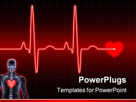 PowerPoint template displaying electrocardiogram (ECG) in the background.