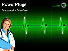 PowerPoint template displaying glowing electrocardiogram graph on a dark background