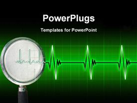 PowerPoint template displaying cardiogram pulse on bright green gridlines with dark edges