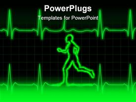 Graph heart monitor and a person running presentation background