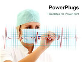Female doctor in medical mask writing a cardiogram powerpoint theme