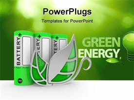 PowerPoint template displaying the words green energy with a lot of battery cells