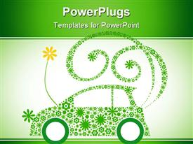 PowerPoint template displaying green flower eco car in the background.