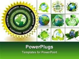 PowerPoint template displaying green earth concept icon with world globe symbol