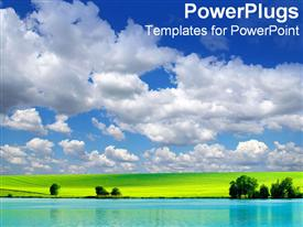 PowerPoint template displaying beautiful open clean landscape represents our ideal world in the background.