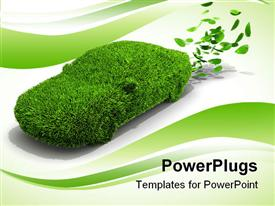 PowerPoint template displaying alternative power concept for green emissions in the background.