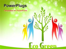PowerPoint template displaying eco Green icon. Tree and people. design