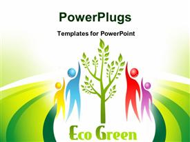 Eco Green icon. Tree and people. design presentation background