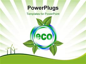 PowerPoint template displaying the eco system being represented with the help of plants with greenish background