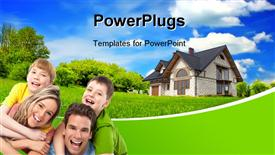 PowerPoint template displaying happy family with beautiful country house and natural environment