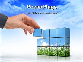 PowerPoint template displaying hand building up a panorama with grass against the blue sky in the background.