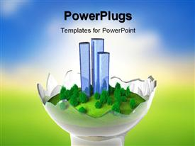 PowerPoint template displaying miniature green world model in broken lightbulb with blurred landscape effect in the background