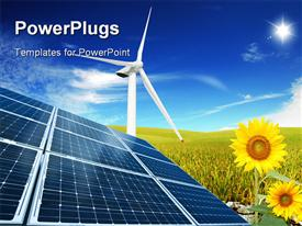 PowerPoint template displaying composition of clean energies solar panel, sunflower and windmill in the background.