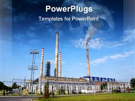 PowerPoint template displaying ecological infection of thermo electric power station