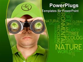 PowerPoint template displaying ecologist searching for environmental protection dressed in green in the background.