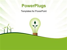 PowerPoint template displaying a bulb with a plant shoot and three wind turbines