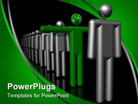 PowerPoint template displaying green man with arms out and globe head in row of silver figures