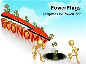 PowerPoint template displaying dollar sign down arrow and 3D text Economy in the background.