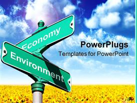 PowerPoint template displaying sign with the concept of where economy and environment intersect in the background.