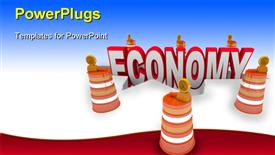 PowerPoint template displaying the word Economy falling into a hole symbolizing the financial meltdown