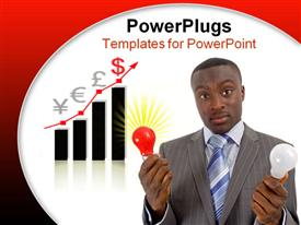 PowerPoint template displaying businessman holding two light bulbs (ideas) with a graph in the background
