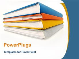 PowerPoint template displaying 4 books on a desk in the background.