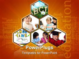 PowerPoint template displaying six tiles with a kids and parents learning and an Education text