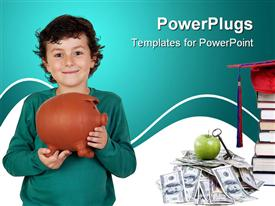Adorable boy with big piggy bank isolated over white powerpoint template
