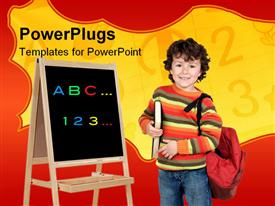 PowerPoint template displaying young smiling boy holding a red school bag and a black board