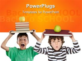 PowerPoint template displaying adorable children with many books and apple on the head isolated over white in the background.