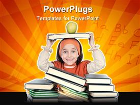 PowerPoint template displaying adorable girl studying in the school a