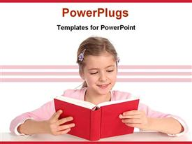 PowerPoint template displaying a girl learning from a book