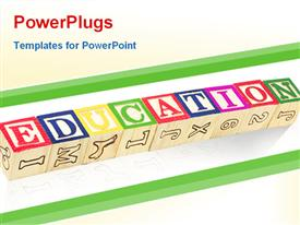 PowerPoint template displaying wooden blocks for kids with word education, letters and numbers