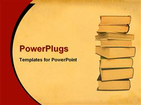 PowerPoint template displaying hardcover books stacked high to study and read on tan background