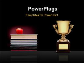 PowerPoint template displaying apple on books