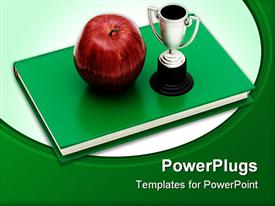 PowerPoint template displaying apple on a stack of books with a trophy isolated on a white background education award in the background.