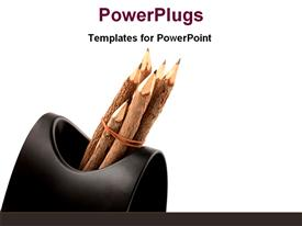 Artistic pencils in the case template for powerpoint
