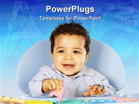 PowerPoint template displaying smiling baby learning alphabets with colorful letter toys