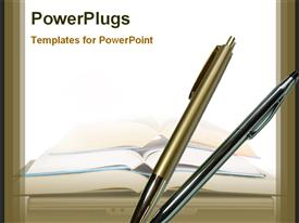 PowerPoint template displaying ballpoints and books for education