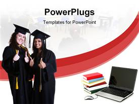 PowerPoint template displaying two laddies wearing graduation gowns with thumbs up, stack of books, laptop and a mouse