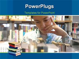 PowerPoint template displaying a chinese student in a library