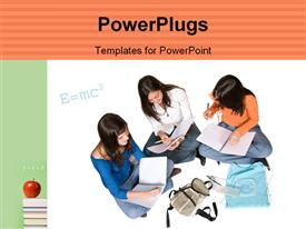 PowerPoint template displaying beautiful school kids solving special relativity equation with apple on books