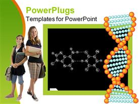 Blackboard with chemical formula. DNA powerpoint template