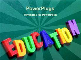 PowerPoint template displaying blackboard with children's toy magnetic letters that spell Education in the background.