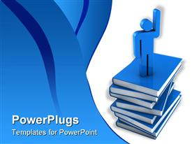 PowerPoint template displaying blue Education concept. 3D rendering