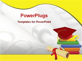 PowerPoint template displaying graduation cap on stack of books, diploma, pen and notebook background, yellow wave border