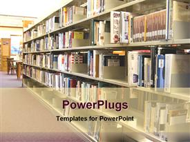 PowerPoint template displaying books in a library in the background.