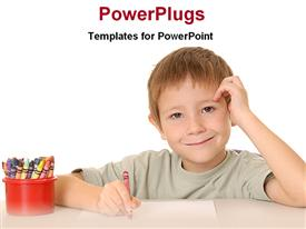 PowerPoint template displaying little boy drawing with pencil and red cup filled with colored pencils
