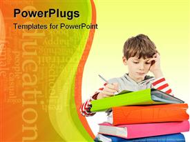 PowerPoint template displaying boy writes by the pen on a paper near books of different colors on a white background